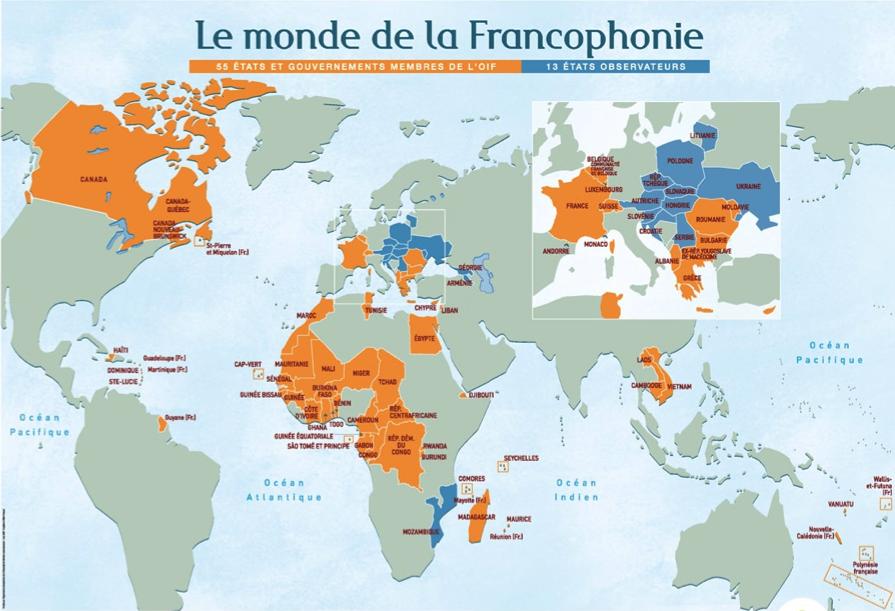 Resultado de imagen para carte de la francophonie